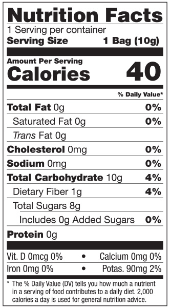 NUTRITION FACTS 1 Pack - Apple 10g
